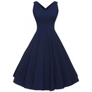 Vintage V-neck Sleeveless Dress