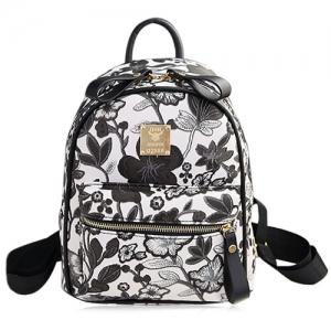 Faux Leather Floral Print Backpack - Black - 38
