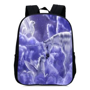 Padded Strap Unicorn Printed Backpack - Purple