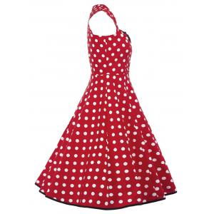 Vintage Polka Dot Buttons Fit and Flare Dress -