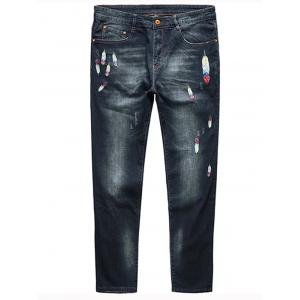 Plus Size Feather Embroidery Straight Jeans