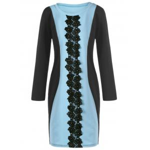 Two Tone Lace Panel Plus Size Dress
