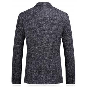 Woolen Blend Single Breasted Metallic Eyelet Blazer - BLACK GREY L