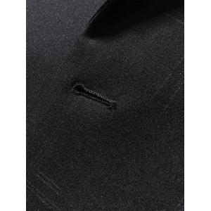 Lapel Edging One Button Irregular Pinstripe Blazer - BLACK L