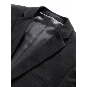 One Button Lapel Edging Cotton Blends Blazer - BLACK XL