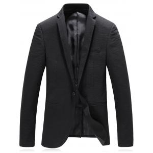 One Button Lapel Edging Cotton Blends Blazer -