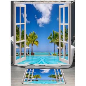 Coconut Trees Window Scenery Shower Curtain and Rug