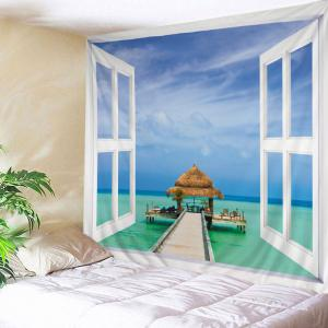 Window Sea View Print Tapestry Wall Hanging Art Decoration