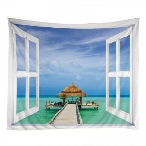 Window Sea View Print Tapestry Wall Hanging Art Decoration -