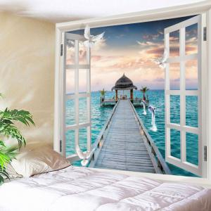 Window Sea Bridge Print Tapestry Wall Hanging Art Decoration