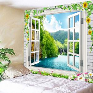 Waterproof Floral Faux Window Landscape Tapestry