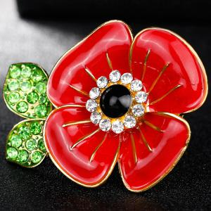 Poppy Design Plating Rhinestone Inlay Brooch - RED
