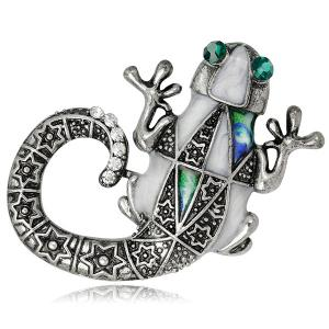 Engraved Mechanical Lizard Design Faux Gem Brooch
