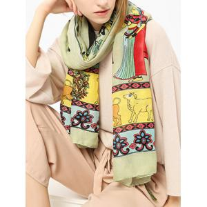 Ethnic Figure Pattern Shawl Scarf with Tassels