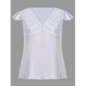 Lace Panel Plus Size Pleated Blouse