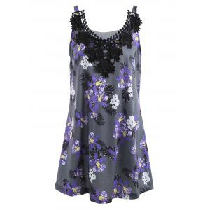 Plus Size Lace Panel Floral Printed Tank Top