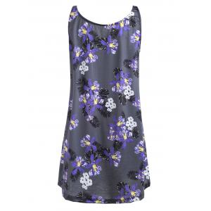 Plus Size Lace Panel Floral Printed Tank Top -