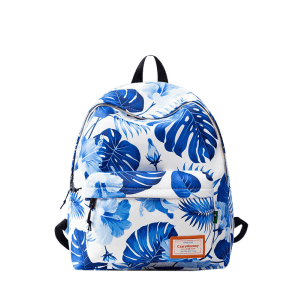 Casual Nylon Printed Backpack - BLUE AND WHITE