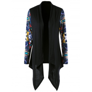 Shawl Collar Printed Asymmetrical Cardigan - Black - M