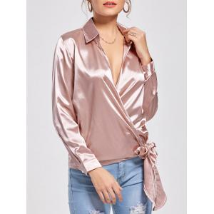 Self Tie Casual Wrap Blouse - Pink - Xl
