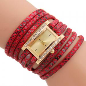 Faux Leather Rectangle Wrap Braclet Watch - Red - W16 Inch * L47 Inch