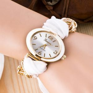Cloth Strap Oval Bracelet Watch - White - Us Plug