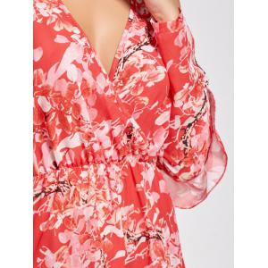 Floral Low Cut Slit Sleeve Ruffle Romper - RED S