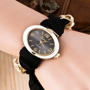 Cloth Strap Oval Bracelet Watch - Black