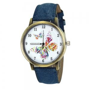 Butterfly Face Faux Leather Strap Watch - Blue