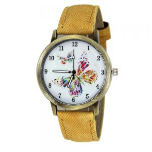 Butterfly Face Faux Leather Strap Watch