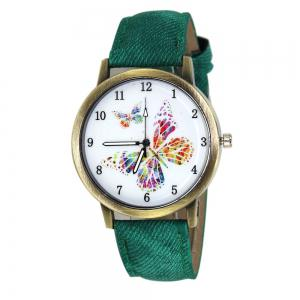 Butterfly Face Faux Leather Strap Watch - Green - 38