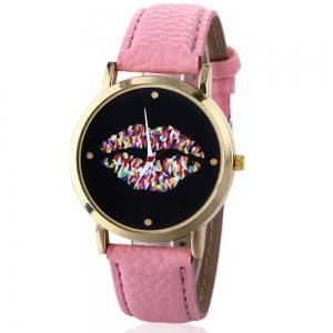 Lip Face Faux Leather Strap Watch