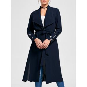 Belted Waterfall Midi Trench Coat - Purplish Blue - 2xl