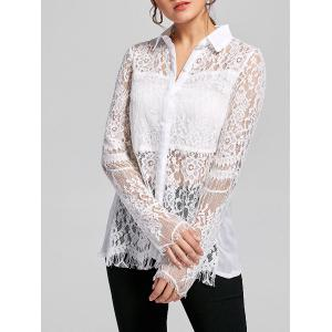 Lace Panel Split See Tru Twist Back Top