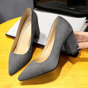 Pointy Block Heel Pumps -