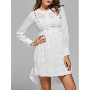 Long Sleeve High Low Lace Panel Dress - White - L