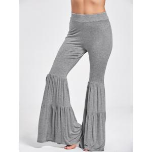 High Waist Ruffle Layered Flare Pants