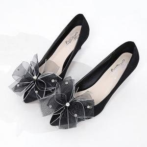 Rhinestone Mesh Bow Embellished Pumps - BLACK 37