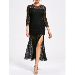 Lace High Split See Thru Party Dress