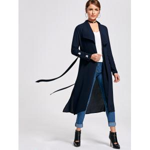 Belted Waterfall Midi Trench Coat -