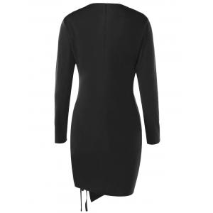 Fitted Pencil Lace Up Plunge Long Sleeve Skin Tight Dress -
