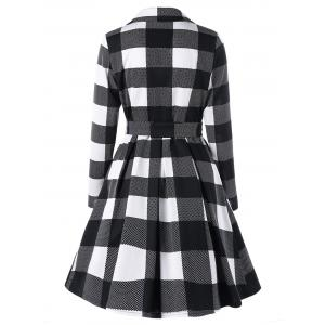 Plaid Notched Collar Skirt Coat - BLACK + WHITE M