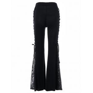 Lace Up High Waisted Flare Pants - BLACK M