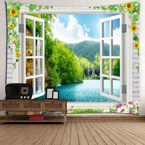 Waterproof Floral Faux Window Landscape Tapestry -