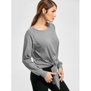 Marled Tied Sweatshirt - GRAY S