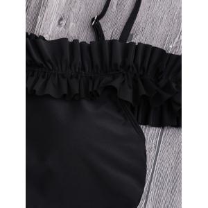 One Piece Off Shoulder Ruffled Swimsuit - BLACK XL