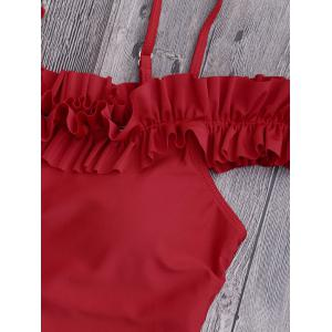 One Piece Off Shoulder Ruffled Swimsuit - RED XL