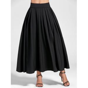Pleated High Waist Maxi A Line Skirt - Black - Xl