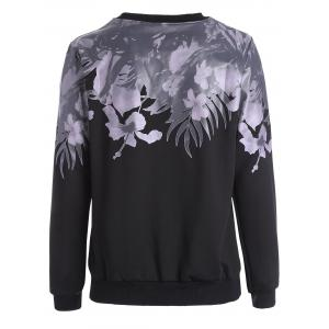 Floral Long Sleeves Sweatshirt - BLACK 2XL