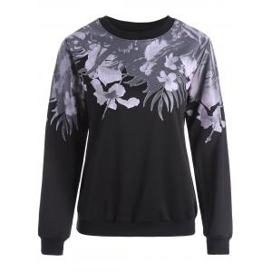 Floral Long Sleeves Sweatshirt - Black - Xl